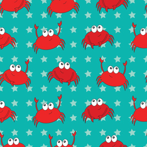 Cute Crabs with stars on Teal