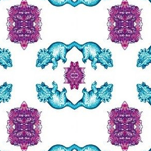 Turquoise and purple triceratops dinosaur