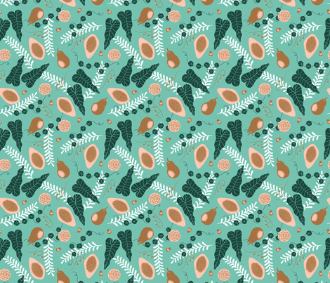 Pears and Plants fabric by shereeboyd on Spoonflower - custom fabric