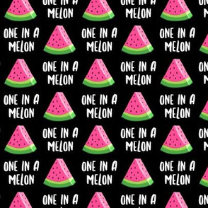 (small scale) one in a melon - pink on black - watermelon summer - LAD19BS