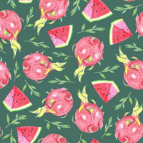 dragon fruit and watermelon slices