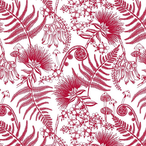 New Zealand Floral - Red