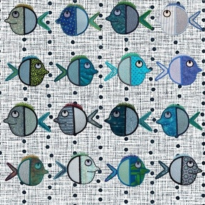 Shoals of Fish on a Linen-look background