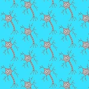 Cute Neuron - on blue