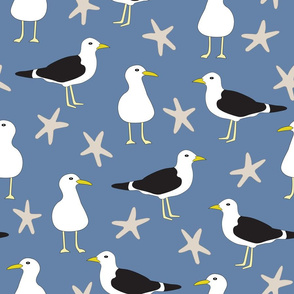Seagulls and Starfish Repeat Pattern