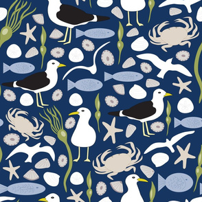 Vector Repeat Seaside Pattern
