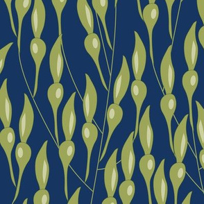 Seaweed on Blue Vector Repeat Pattern