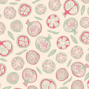 Fun claret green pomegranates