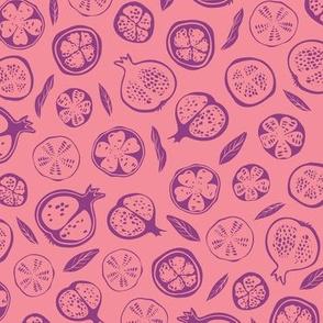 Monochrome pink, claret pomegranates
