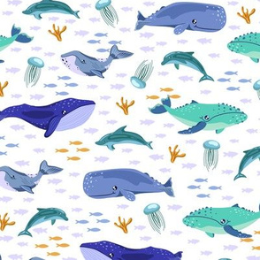 Cute whales and dolphins. White pattern