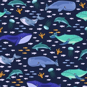 Cute whales and dolphins
