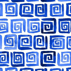 Watercolor Greek Key  - Royal Blue