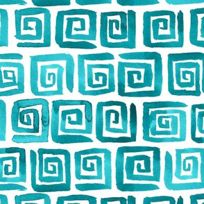 Watercolor Greek Key  - Teal