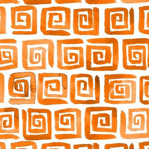 Watercolor Greek Key  - Orange