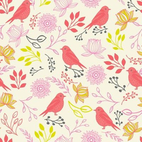 Coral birds and flowers on white