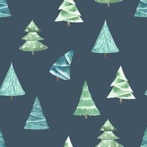 Christmas Pine Trees // Fiord Blue