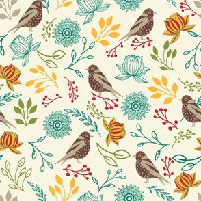 Birds and flowers on white