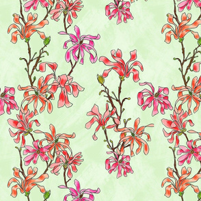 pink flowers on a light green background