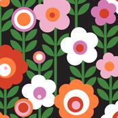 Marguerite* (Black) || vintage sheet mod 70s 60s flower floral leaves stem garden spring summer