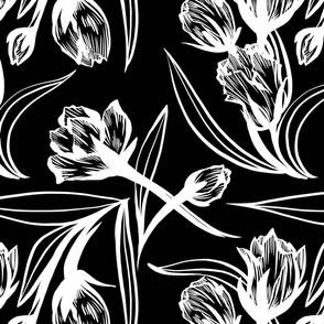 Inky Tulips on Black