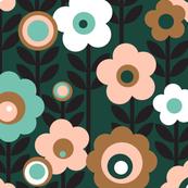 Marguerite (Limited Palette)    vintage sheet mod 70s 60s flower floral leaves stem garden spring summer aqua turquoise mustard gold living coral mint bronze forest spearmint rose