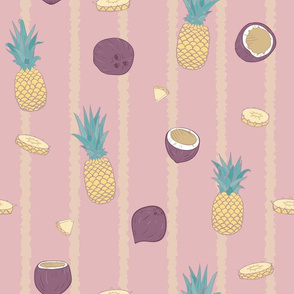 Pina Colada with messystripes on pink seamless pattern.
