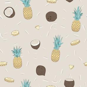 Pina Colada on Beige seamless pattern.