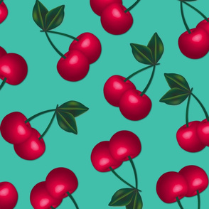 Jumbo Cherries on Turquoise background