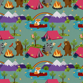Camping Forest Animals - dusky green