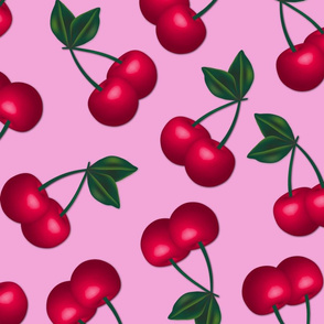 Jumbo Cherries on Pink Background