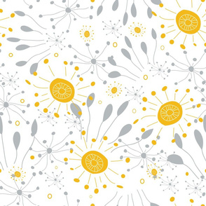 Floral Burst Yellow and Gray
