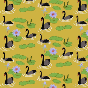 Black swans and Water lilies on old gold
