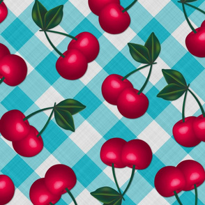 Cherries on Light Blue Gingham - Large Scale