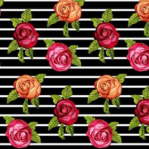 Multicolored Roses on Black  w/ White Horizontal Stripes