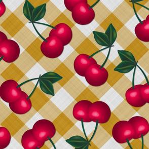 Jumbo Cherries on Mustard Yellow Gingham