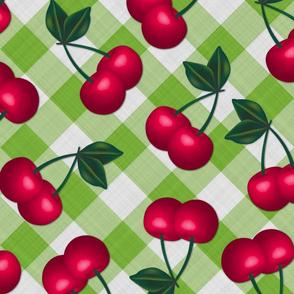 Jumbo Cherries on Lime Gingham