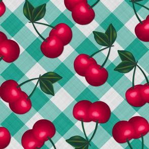 Jumbo Cherries on Aqua Gingham