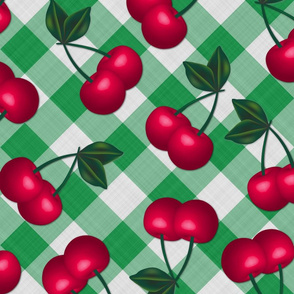 Jumbo Cherries on Hunter Green Gingham