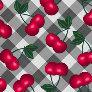 Jumbo Cherries on Grey Gingham