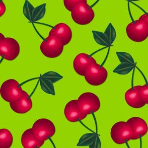 Jumbo Cherries on  Lime Green background