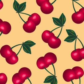 Jumbo Cherries on Cream background