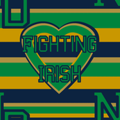 Notre Dame Fighting Irish Stripes Heart Gold Green Blue Team School Colors
