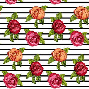 Multicolored Roses on Black and White Horizontal Stripes