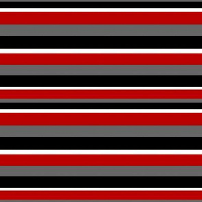 Horizontal Stripes in Gray Red Black and White