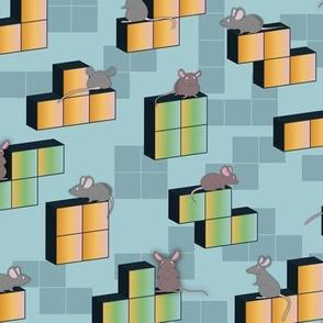 Tetris playing Mouse orange blue