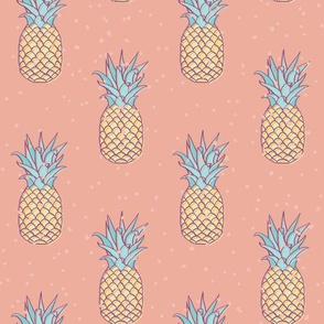 Pineapple Retro Peach Bleach seamless pattern background.