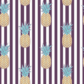 Pineapple Retro Stripes seamless pattern background.