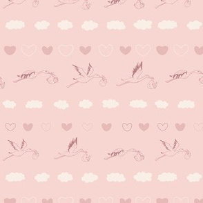 Storks with Babies and Clouds in pink seamless pattern background.