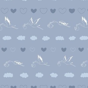 Storks with Babies and Clouds in blue seamless pattern background.