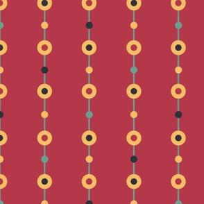 Folk Beads on red seamless pattern background.